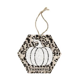 Thankful Leopard Pumpkin - Ornament