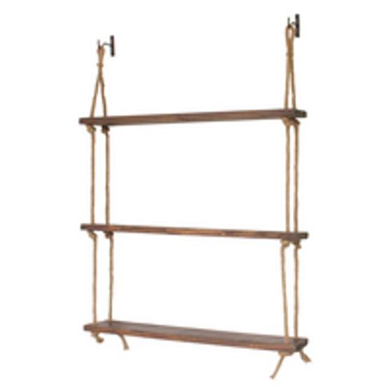 "Rope Shelf 46"" x 32"" x 6""Š—¢ STAINED WOODŠ—¢ Hardware Included"