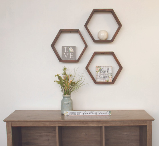 HONEYCOMB SHELF - Stained Wood