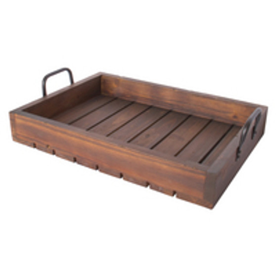 LARGE RUSTIC TRAY STAINED WOOD