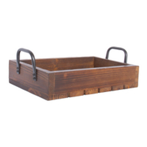 SMALL RUSTIC TRAY - STAINED WOOD