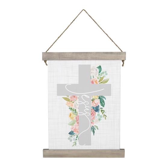Jesus Floral Cross - Hanging Canvas