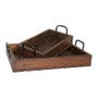 RUSTIC TRAY SET - STAINED WOOD