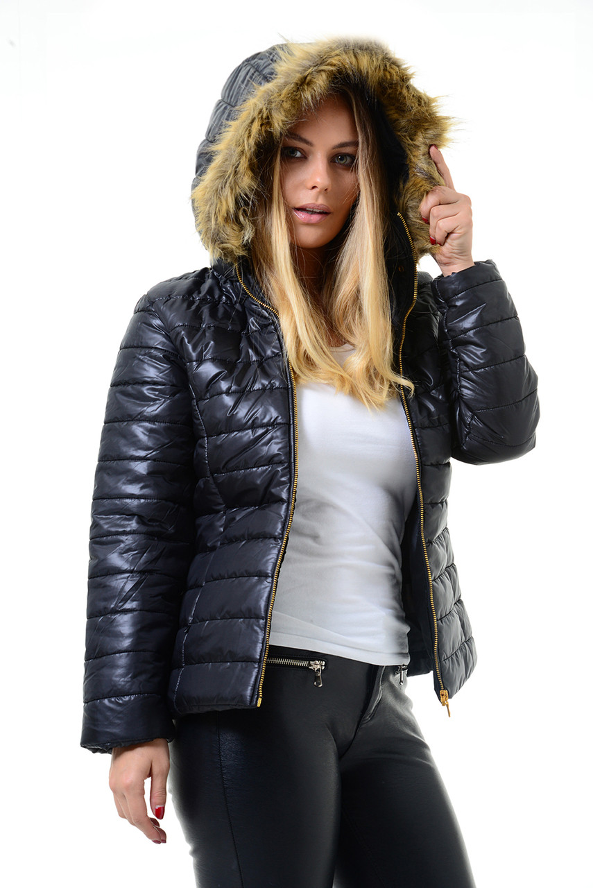 f266f29ee Black Fur Trim Hood Puffer Jacket