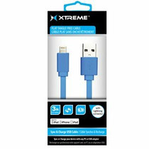 Xtreme Cables 3' USB to 8-Pin Lightning Flat Tangle Free Cable - Blue