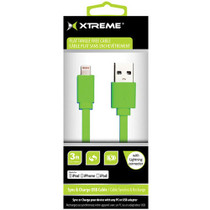 Xtreme Cables 3' USB to 8-Pin Lightning Flat Tangle Free Cable - Green