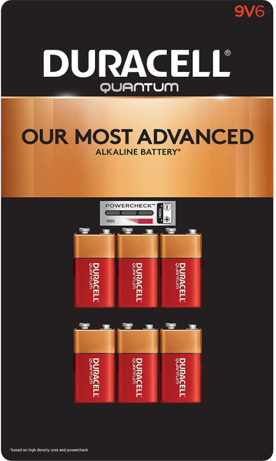Duracell Quantum 9V Alkaline Battery With Powercheck QU1604 - 6 Pack
