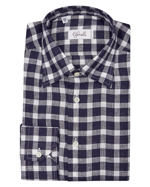 Navy & White Check Cotton Shirt
