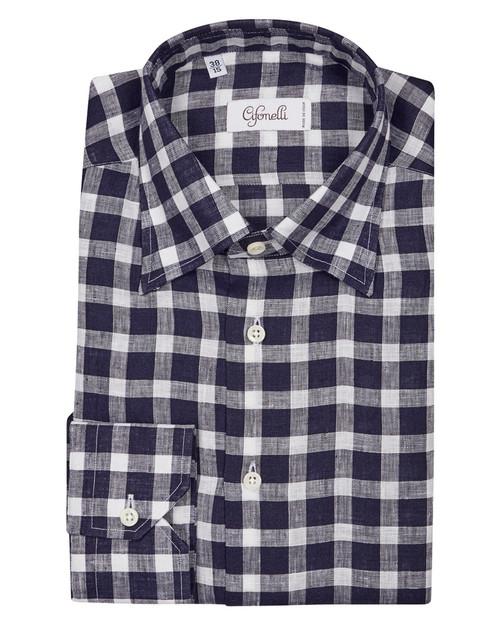 Navy & White Check Cotton Shirt