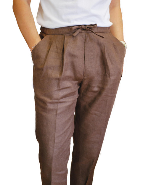 Chocolate Linen Drawstring Trousers
