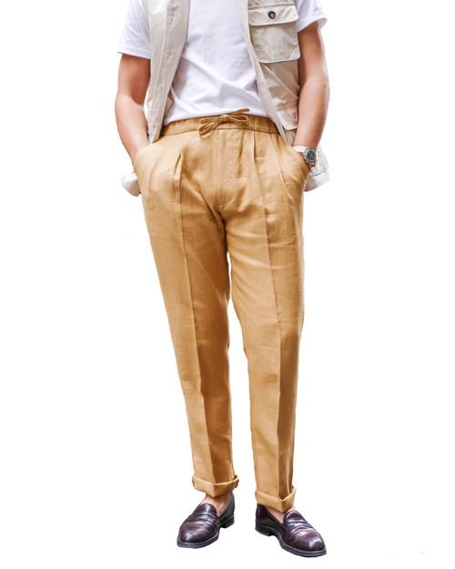 Caramel Linen Drawstring Trousers
