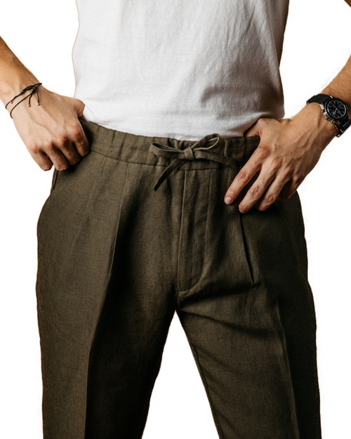 Khaki Linen Drawstring Trousers