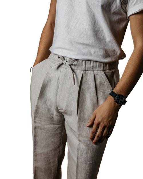 Stone Linen Drawstring Trousers