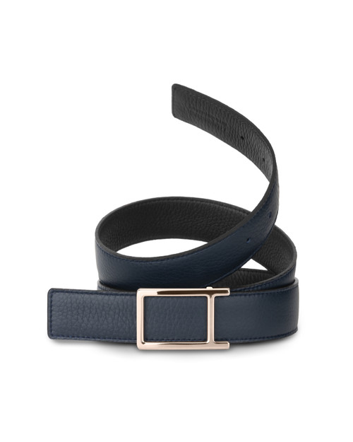 Navy & Black Belt with Classic Rose Gold Buckle