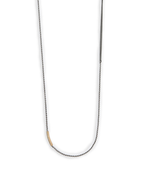 18k Gold Tube to Mixed Chains Necklace