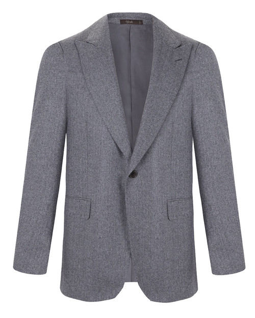 Marbeuf Grey Herringbone Cashmere Jacket