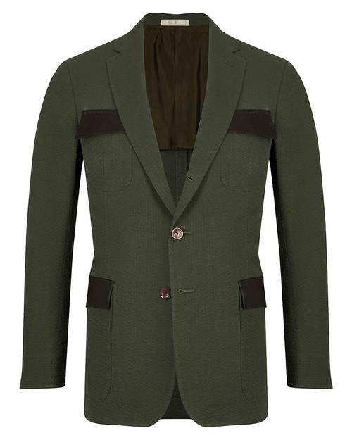 Montecarlo Green Seersucker Cotton Lorenzo Jacket
