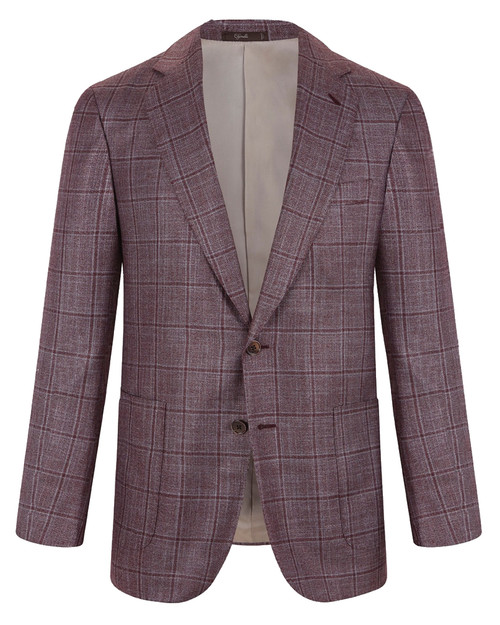 Montecarlo Burgundy Windowpane Cashmere and Silk Jacket