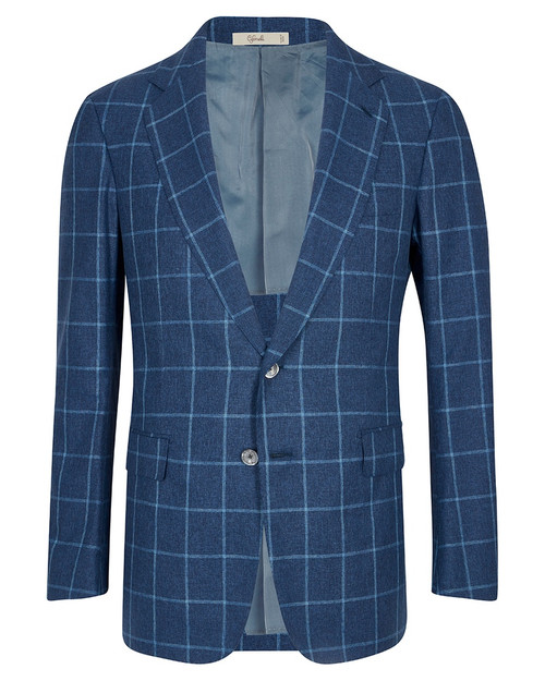 Montecarlo Blue Windowpane Cotton, Wool and Silk Jacket