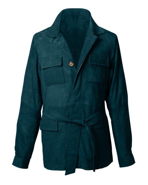 Belted Green Suede Safari Jacket