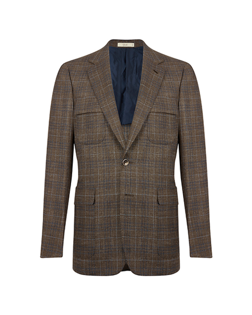 Montecarlo Brown Windowpane Single Breasted Jacket