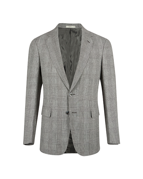 Montecarlo Black & White Prince of Wales Linen Wool Single Breasted Jacket