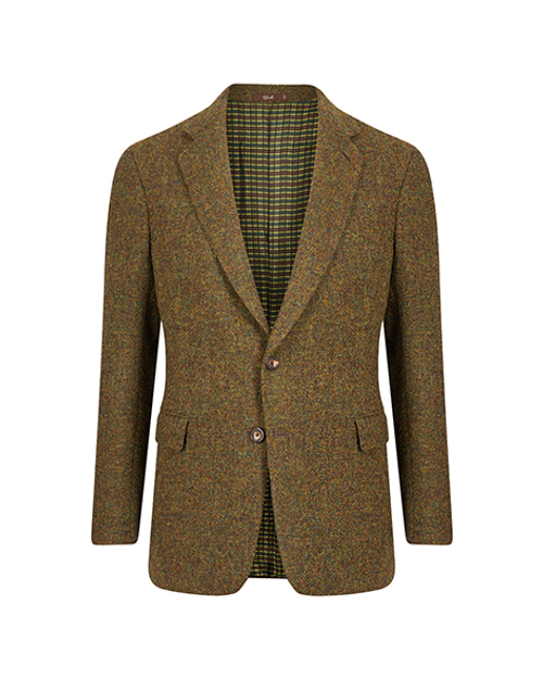 Montecarlo Green Melange Single Breasted Jacket