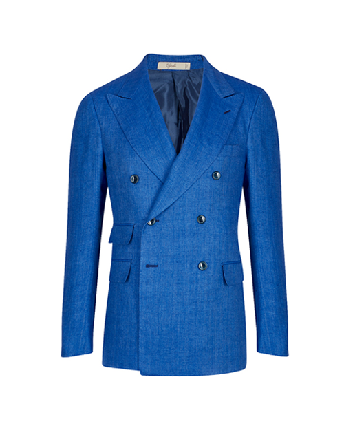Montecarlo Cerulean Double Breasted Linen Jacket