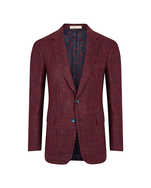 Montecarlo Red & Blue Houndstooth Single Breasted Jacket