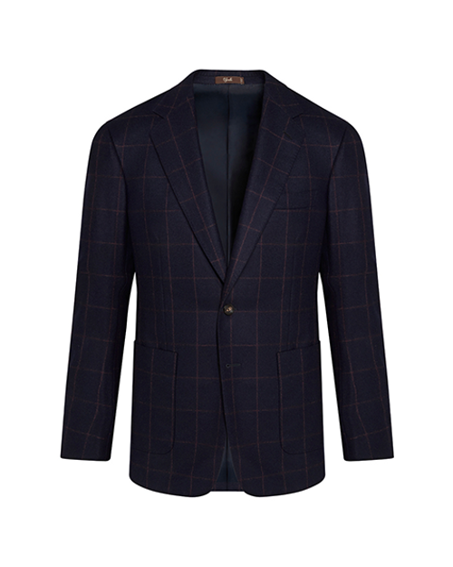 Montecarlo Navy Windowpane Check Wool Jacket