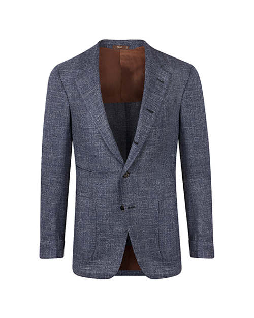 Montecarlo Blue Wool Silk Linen Weave Jacket