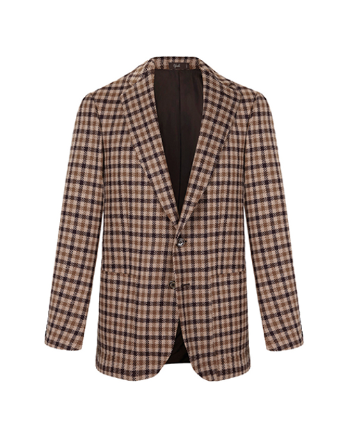 Marbeuf Brown Check Single Breasted Wool Jacket