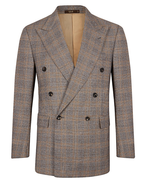 Marbeuf Grey & Yellow Check Wool Double Breasted Suit