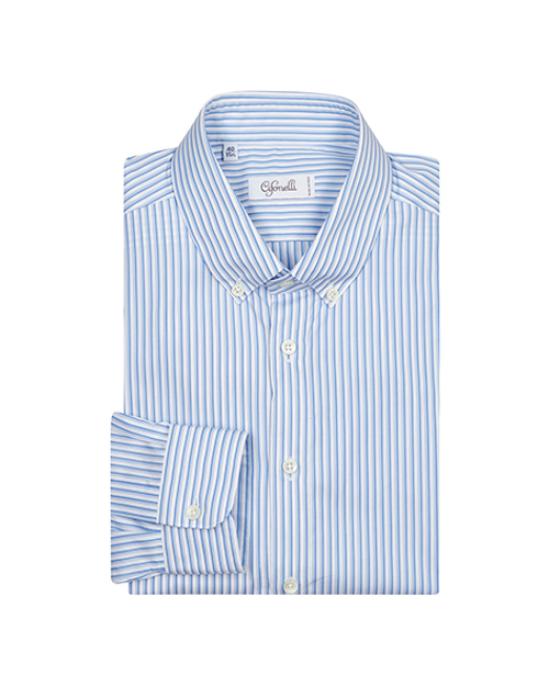 Blue Striped Slim Cotton Shirt
