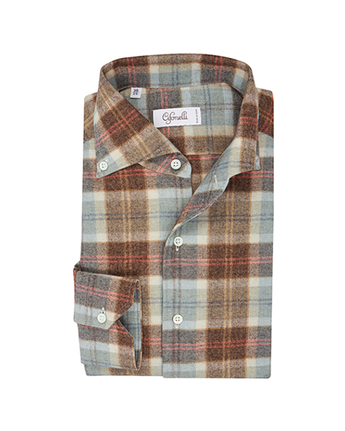 Brown, Blue & Orange Check Cotton Spread Collar Button Down Pique Shirt