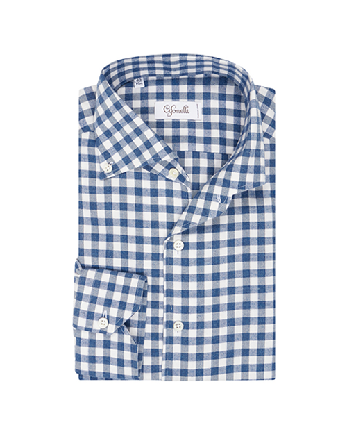Blue Cotton Gingham Check Spread Collar Button Down Pique Shirt