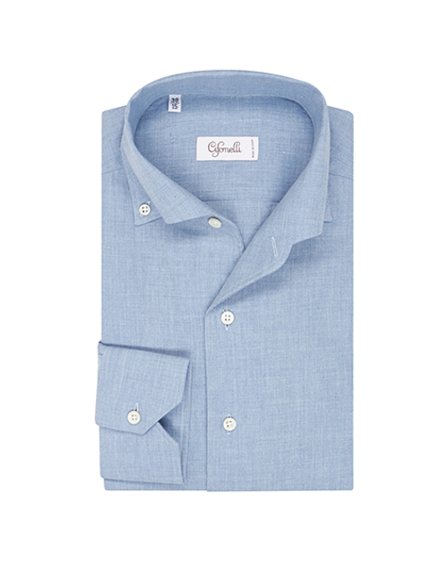 Light Blue Cotton Spread Collar Button Down Pique Shirt