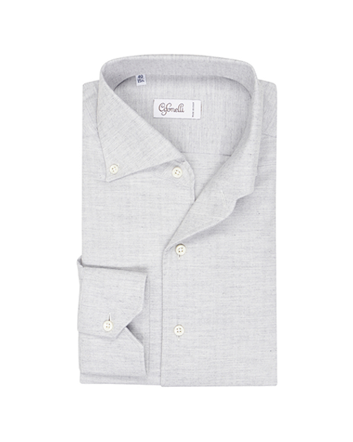 Light Grey Cotton Spread Collar Button Down Pique Shirt