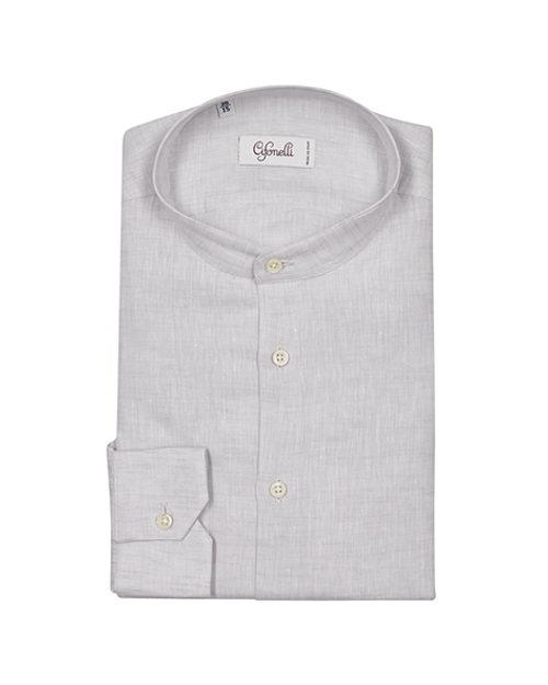White Collarless Chambray Cotton Shirt
