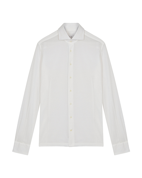White Long Sleeve Pique Polo Shirt