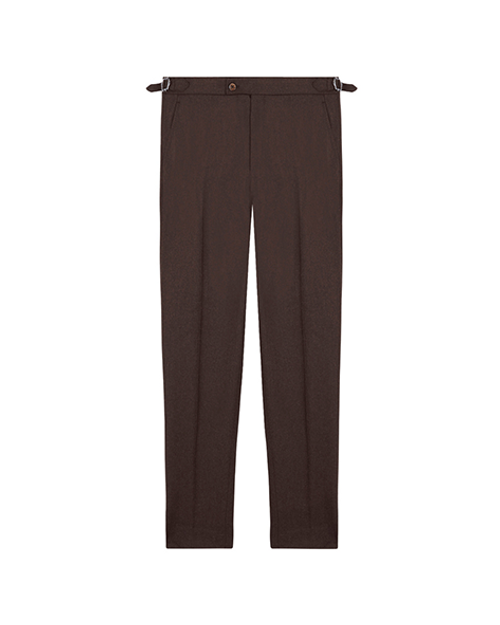 Brown Wool Slim Trousers