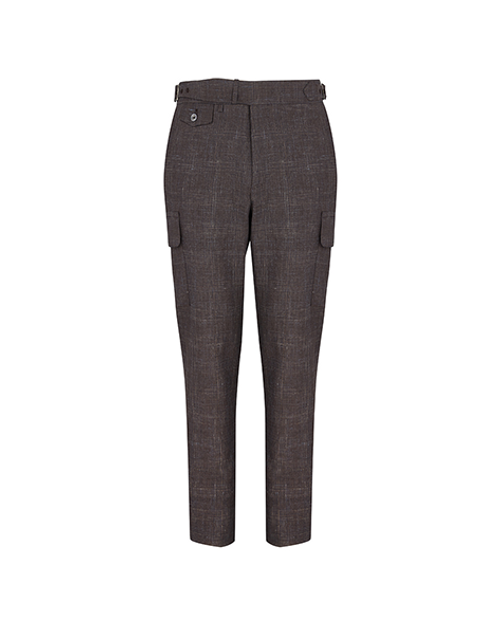 Brown Windowpane Cargo Trousers