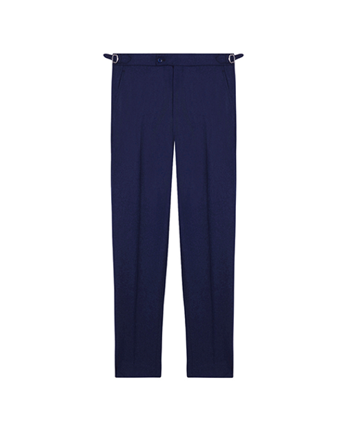 Blue Wool Pleated Trousers