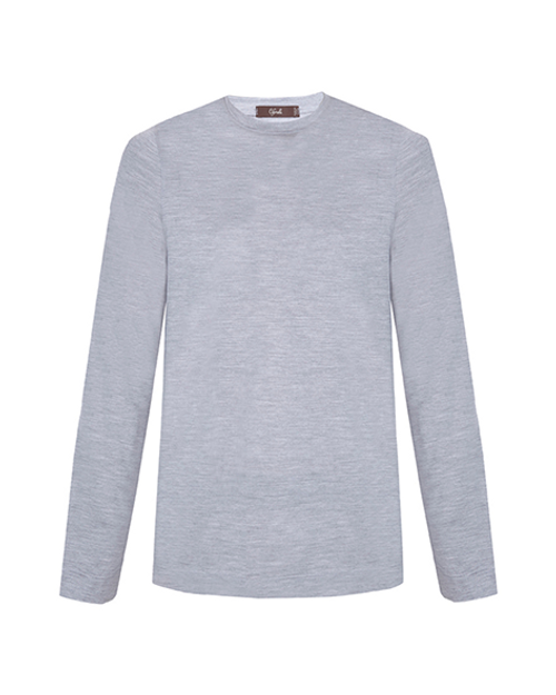 Grey Slub Cotton Long Sleeve T-Shirt