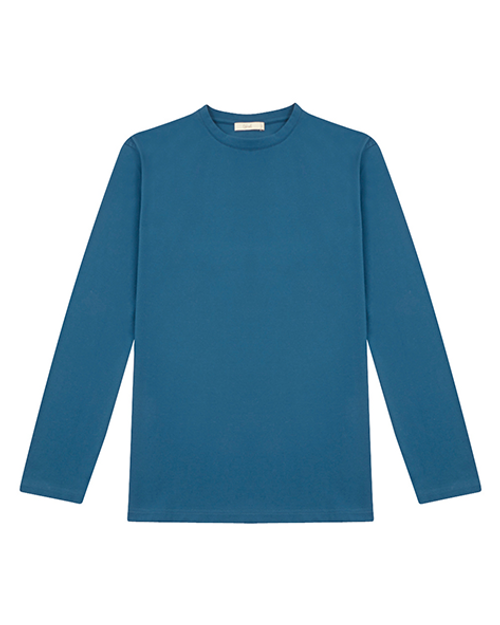 Blue Cotton Long Sleeve T-shirt