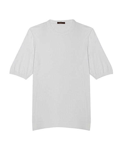 White Cotton Crew Neck T-shirt