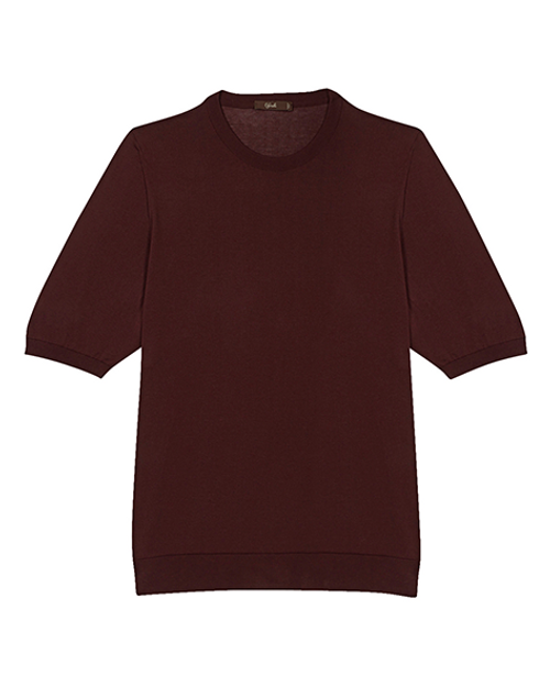 Bordeaux Cotton Crew Neck T-shirt
