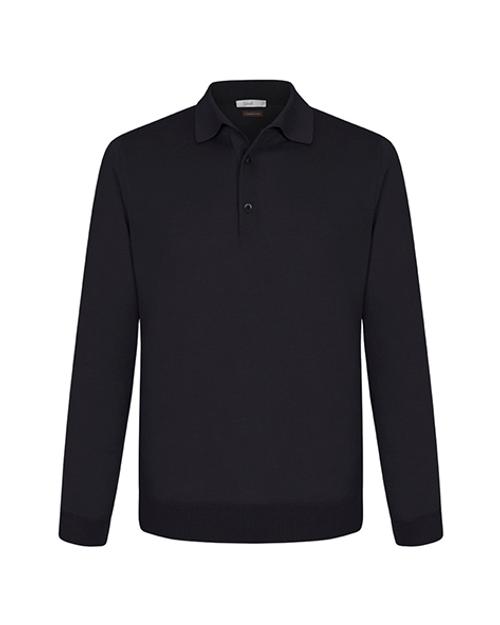 Black Cashmere & Silk Polo Shirt