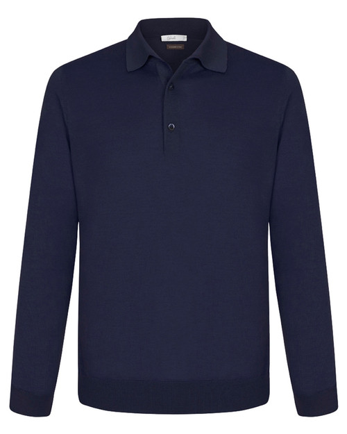 Navy Cashmere & Silk Polo Shirt