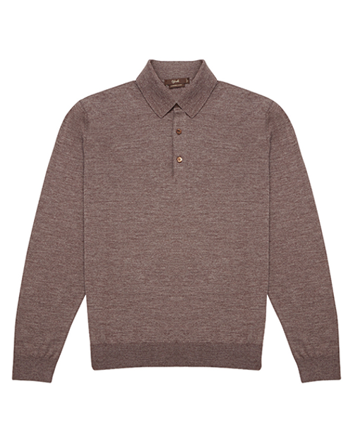 Brown Long Sleeve Cashmere & Silk Polo Shirt